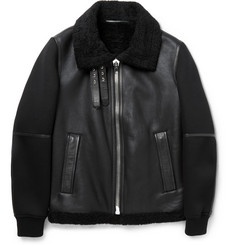 Givenchy Shearling, Leather and Neoprene Jacket