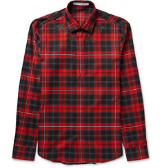 Givenchy Slim-Fit Appliquéd Checked Cotton-Twill Shirt