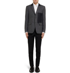 Givenchy Grey Slim-Fit Panelled Wool-Blend Blazer