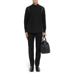 Givenchy Slim-Fit Leather-Trimmed Wool-Flannel Trousers