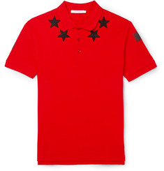 Givenchy Star-Appliqué Cotton-Piqué Polo Shirt
