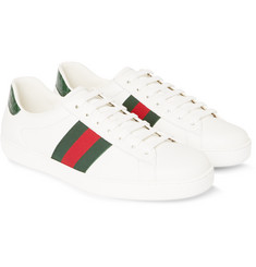 Gucci - Crocodile and Webbing-Trimmed Leather Sneakers