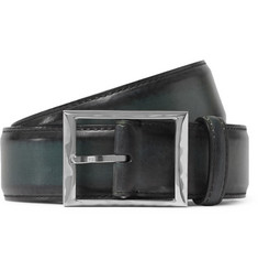 Berluti 3.5cm Green Leather Belt