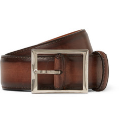 Berluti 3.5cm Vermillion Leather Belt