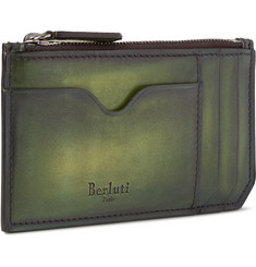 Berluti Koa Zipped Burnished-Leather Cardholder