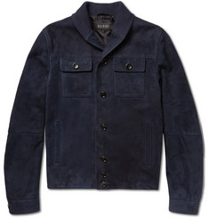 Gucci Knit-Back Suede Jacket