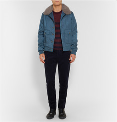 Gucci Shearling-Trimmed Satin-Twill Bomber Jacket