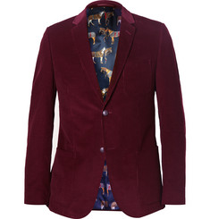 Gucci Burgundy Slim-Fit Corduroy Blazer