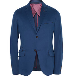Gucci Blue Unstructured Suede Elbow Patch Cotton Blazer