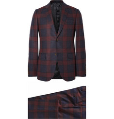 Gucci Burgundy Slim-Fit Checked Wool Blazer