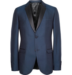 Gucci Blue Dylan Slim-Fit Silk-Gabardine Tuxedo Jacket