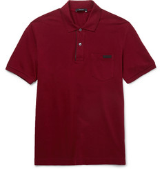 Gucci Leather-Trimmed Cotton-Piqué Polo Shirt