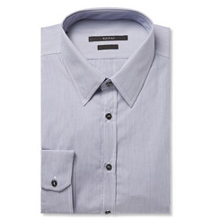 Gucci Blue Slim-Fit Striped Cotton-Poplin Shirt