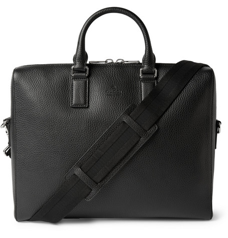 gucci male gucci black grainedleather briefcase black