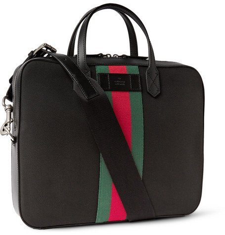 GUCCI Black Nylon Web Stripe Convertible Briefcase