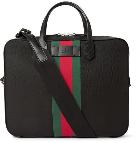 gucci male gucci leathertrimmed canvas briefcase black