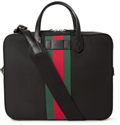 Gucci Leather-Trimmed Canvas Briefcase
