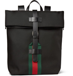 Gucci Leather-Trimmed Canvas Backpack