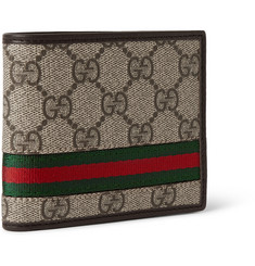 Gucci Monogrammed Coated-Canvas and Leather Billfold Wallet