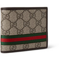 Gucci - Monogrammed Coated Canvas and Leather Billfold Wallet