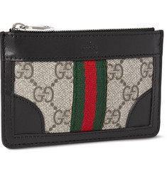 Gucci Leather and Monogrammed Canvas Coin Case