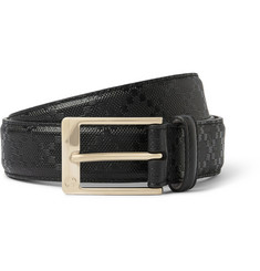 Gucci 3cm Black Embossed Leather Belt