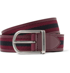 Gucci 3cm Striped Webbed Leather Belt