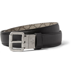 Gucci 3cm Black and Grey Reversible Leather Belt