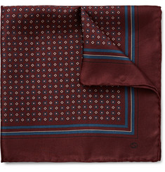 Gucci Medallion-Print Silk-Twill Pocket Square