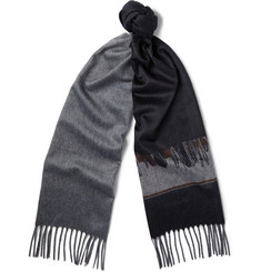 Gucci Saddle-Print Brushed-Cashmere Scarf