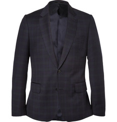 Paul Smith London Navy Slim-Fit Checked Wool Blazer