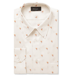 Paul Smith London Ecru Slim-Fit Embroidered Cotton Shirt