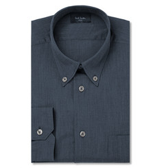 Paul Smith London Soho Blue Slim-Fit Button-Down Cotton-Chambray Shirt