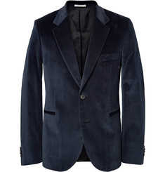 Paul Smith Midnight-Blue Slim-Fit Velvet Blazer