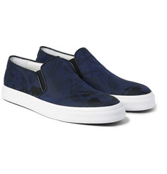 Alexander McQueen Leather-Trimmed Skull-Jacquard Slip-On Sneakers