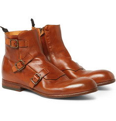Alexander McQueen Triple Monk-Strap Leather Boots