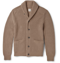 Hardy Amies Wardour Shawl-Collar Ribbed Cotton Cardigan