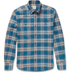 Hardy Amies Zac Button-Down Collar Checked Brushed-Cotton Shirt