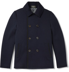 Berluti Slim-Fit Leather-Trimmed Wool Peacoat