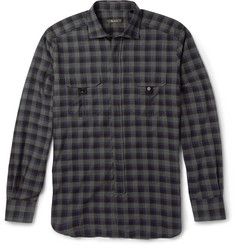 Berluti Checked Cotton and Cashmere-Blend Shirt