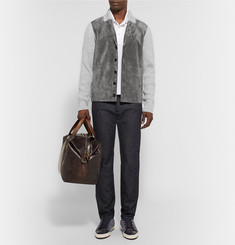 Berluti Shawl-Collar Suede and Ribbed-Cashmere Cardigan