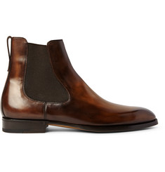 Berluti Burnished Venezia Leather Chelsea Boots