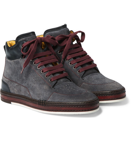 Ferro Suede And Leather High-top Sneakers - Charcoal