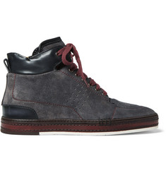 Berluti Ferro Suede and Leather High-Top Sneakers