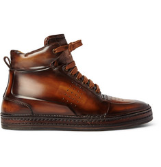 Berluti Playtime Burnished-Leather High-Top Sneakers