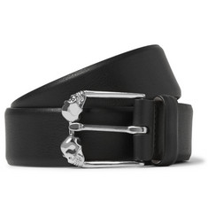 Alexander McQueen Two-Tone 3.5cm Textured-Leather Belt