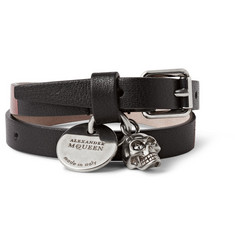 Alexander McQueen Coated Textured-Leather Wrap Bracelet With Skull