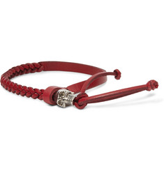 Alexander McQueen Metal Skull And Woven-Leather Bracelet