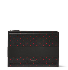 Givenchy Cross-Print Full-Grain Leather Pouch