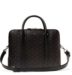Givenchy Cross-Print Pebble-Grain Leather Briefcase
